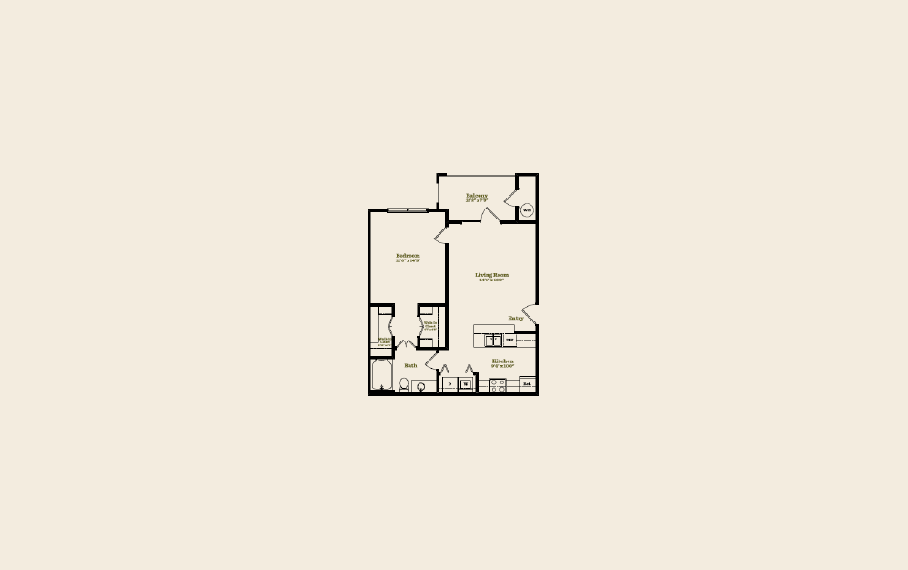 A4 - 1 bedroom floorplan layout with 1 bath and 724 square feet.