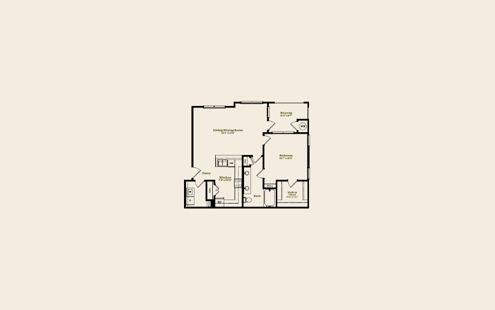 A5 - 1 bedroom floorplan layout with 1 bath and 892 square feet.