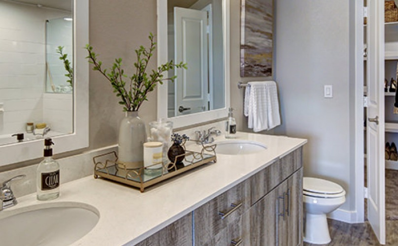 Large well lit bathroom with double vanity sinks and a large walk in shower