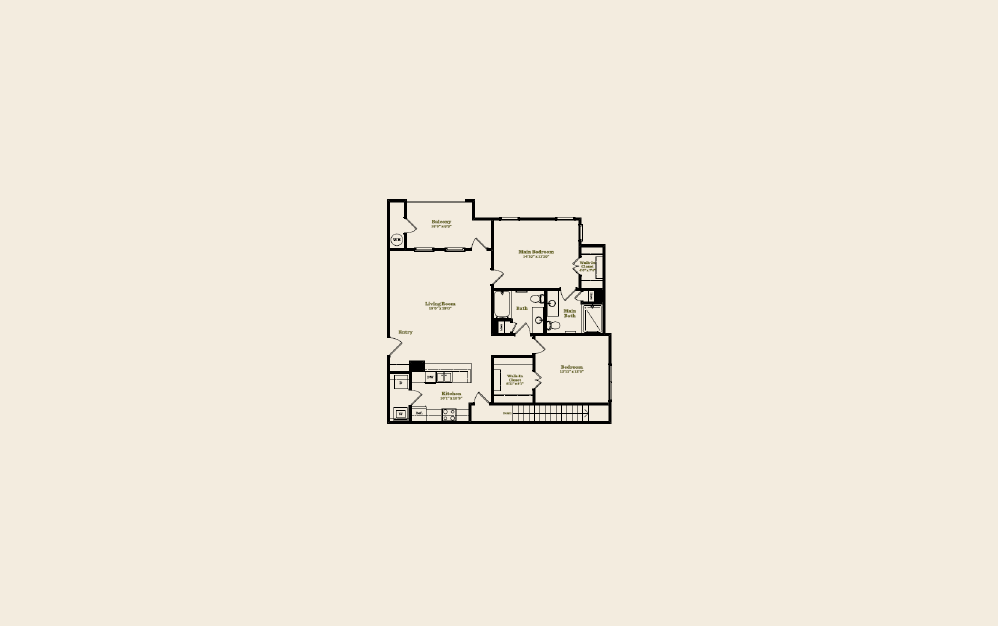 B1B - 2 bedroom floorplan layout with 2 baths and 1198 square feet.