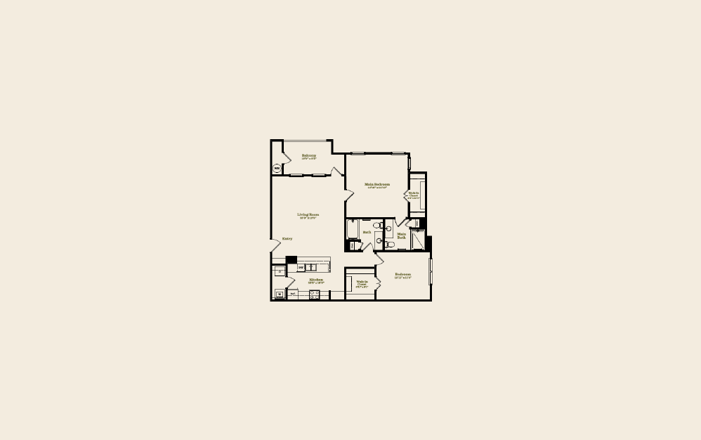 B1C - 2 bedroom floorplan layout with 2 baths and 1198 square feet.